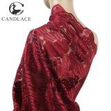 Tessuti africani del merletto di Tulle di colore rosso di vino per il partito