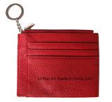 열쇠 고리를 가진 빨간 PU 카드 홀더 또는 여자 형식 명함통