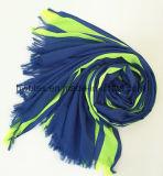 Madame d'imitation Scarf (HWBPS199) de polyester de coton fluorescent de piste verticale