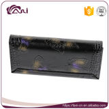 Бумажник высокого качества черный, портмоне бумажника неподдельной кожи коровы женщин с напечатанной бабочкой