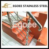 Barandilla de cristal exterior de la escalera del acero inoxidable