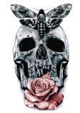 Etiqueta engomada impermeable temporal del tatuaje del arte de la etiqueta engomada del tatuaje de Rose del cráneo