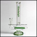 녹색 인라인 Perc 및 녹색 둥근 기초를 가진 유리제 연기가 나는 관 새로운 11.5 인치 Illadelph 최고 질