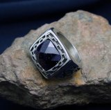 Blue Sandstone Inlaid Men's Rings Luxury Stainless Jewellery