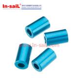 Bucha do alumínio 6061 com o azul anodizado