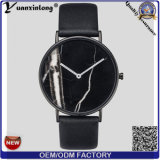 Yxl-072方法大理石の表面革腕時計の熱い販売のメンズウォッチの昇進の水晶男性用腕時計の防水OEMは女性を見る