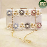 真珠の花Eb792が付いている最新のデザイン優雅の女性のハンドバッグの高品質PUのイブニング・バッグ