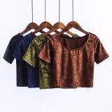 方法女性はビロードの穀物の上のTシャツの衣服のブラウスを細くする