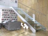 Les escaliers de verres de sûreté d'éclairage LED ont feuilleté l'escalier droit de verre trempé