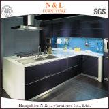 モジュラー削片板の現代黒一色の食器棚
