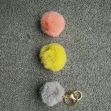 최신 판매 귀여운 까만 색깔 도매 가짜 모피 방울 술 Keychain
