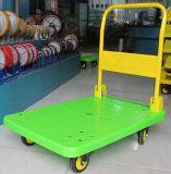 200kgsプラスチックプラットホーム手トラックの黄色カラー無雑音車輪が付いている折るパレットトロリー