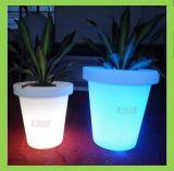 Plantador iluminado plástico de la decoración LED del hogar del crisol de flor