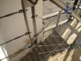 Barandilla de acero del cableado de la escalera de interior