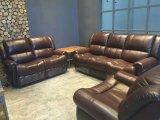 Sofá do Recliner da sala de visitas com o manual para o sofá de couro moderno com couro genuíno superior
