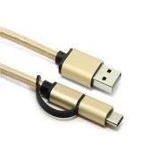 2 in 1 USB2.0 een Mannetje aan Micro B 5pin en USB de Kabel van het Type C