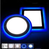 Les doubles voyants de la lampe 6With9With16With24W DEL de plafond de couleur ont enfoncé White+Blue moderne