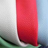 Cuir de vente chaud d'unité centrale Microfiber de Lychee de caillou pour des meubles de sacs à main