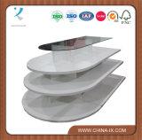 4 Reihe-weißes hölzernes Regal-Melamin-ovaler Bildschirmanzeige-Tisch