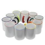 2016 tazas de encargo de la foto de la taza del color de la maneta del borde de la insignia 11oz de la taza de la impresión