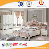 Кровать белой кожи типа живущий мебели комнаты просто (UL-BH6011)