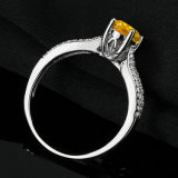 Anel de casamento citrino real do acoplamento da prata 925 esterlina