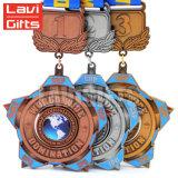 Medalla ultra Shaped de encargo del deporte del baloncesto del metal del latón del cobre de la antigüedad de la aleación del cinc 3D con la cinta