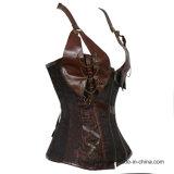 Корсет Steampunk профилировщика Cincher Halter PU женщин кожаный Boned сталью