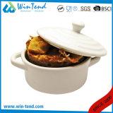 Porcelana blanca Cocotte de la venta de la comida fría comercial caliente del restaurante con la tapa y la maneta