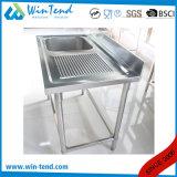 Établi de bassin d'établi de cuisine d'acier inoxydable sur le côté droit