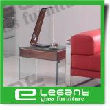 Tabella di sezione comandi di vetro piegata con i cassetti bianchi di vetro lucentezza del MDF della pittura di alta e della mensola