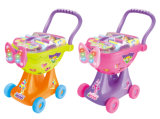 Carro de compra plástico do brinquedo do trole da compra com luz (H0009426)