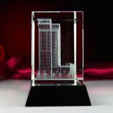 pisapapeles modelo arquitectónico del cubo del vidrio cristalino del laser 3D
