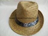 얼룩이 진 Seagrass 손에 의하여 길쌈되는 인쇄된 악대 중절모 밀짚 모자