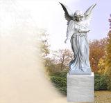 Mármore personalizado que cinzela o Headstone do anjo, lápide
