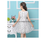 Fashion Flower Printing Lovely Princess Girls Dress com cintura