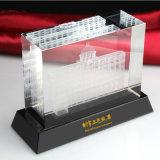 architektonisches vorbildliches Kristallglas-Würfel-Papiergewicht Laser-3D