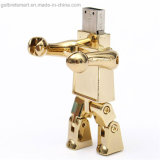 Giftのための金属のGolden Robot Shape USB Flash Memory