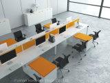 8 pessoa L estação de trabalho linear da mesa de escritório da forma com pé do metal (HF-KD06B)