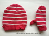 Малыши Stripes Knitted Winter Sliver Lurex Hat и Gloves Set (HQK16010)