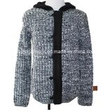 Zipper (M15-032)를 가진 남자 Knitted Turtle Neck Long Sleeve Cardigan