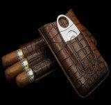 Caja de cuero del Humidor del tabaco del cocodrilo que viaja