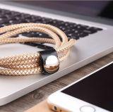2016 de Nieuwste Gevlechte Kabel USB van Pu Leer met Aluminium Shell