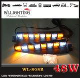 선형 소방차 빨간 파랑 LED 경고 바람막이 유리 빛