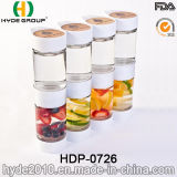 Il doppio caso all'ingrosso BPA libera la bottiglia di plastica di infusione della frutta, la bottiglia di Infuser della frutta di Tritan (HDP-0726)