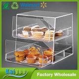 2 rangées effacent le cas d'exposition acrylique empilable de gâteau