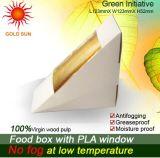 Rectángulo de papel del alimento del triángulo que empaqueta con la ventana antiniebla