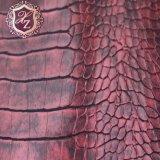 Het in reliëf makende en Bronzende Leer van de Krokodil van het Leer van pvc Synthetische voor het Kledingstuk van de Bagage (hS-Hz1)