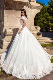 0050 новое прибытие a - линия короткие платья венчания шнурка/сатинировки поезда молельни высокого качества втулки с кристаллический поясом