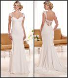 Schutzkappe Sleeves bräutliche formale Kleid-Spitze-Chiffon- Hochzeits-Kleid Snd1897